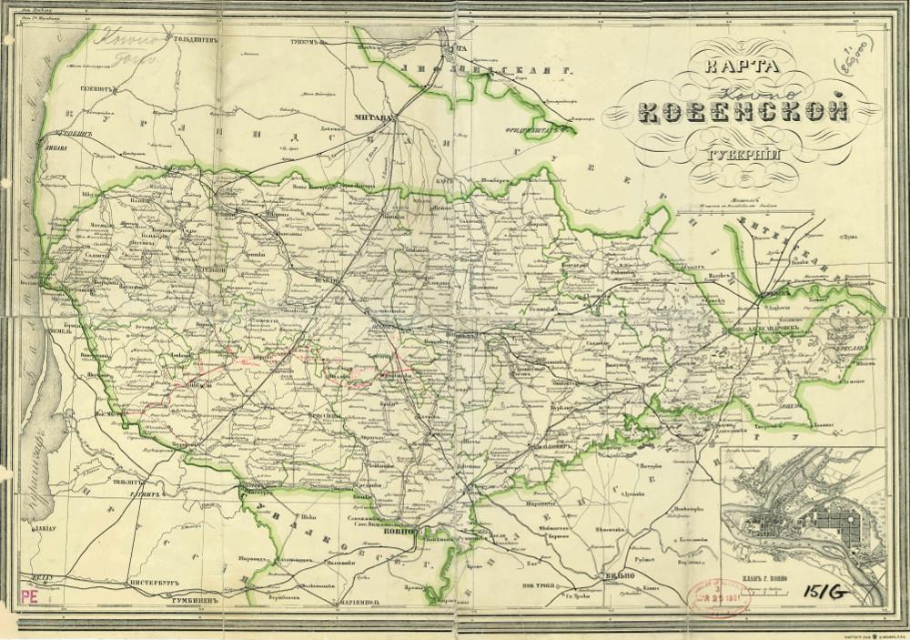 Карта Ковенской губернии, 1876 г.