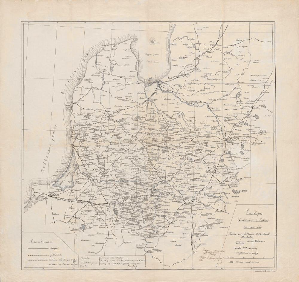 Карта Литовских земель, 1900 г.