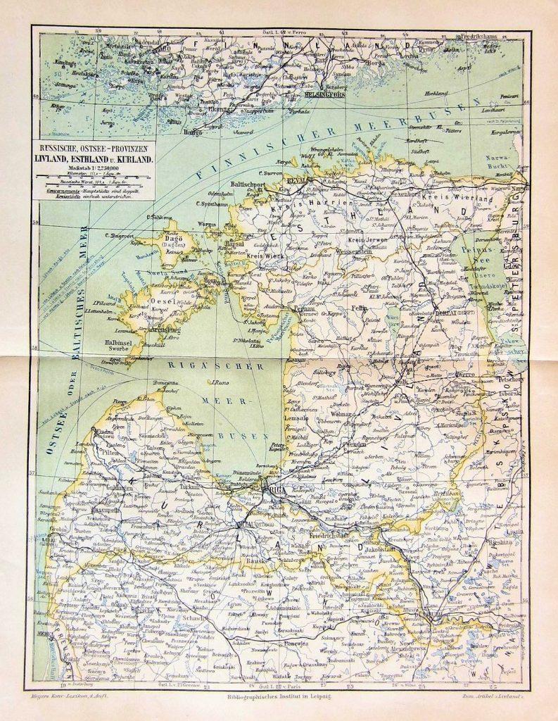 Карта Лифляндской, Эстляндской и Курляндской губерний, 1895 г.