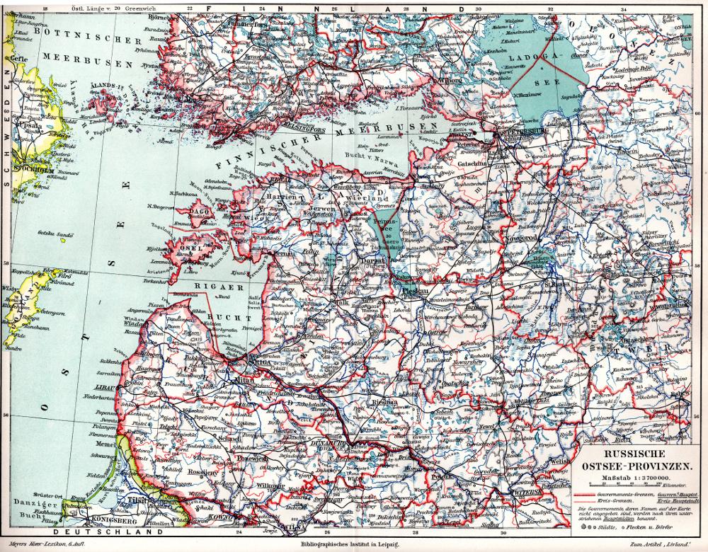 Карта Прибалтики, 1895 г.
