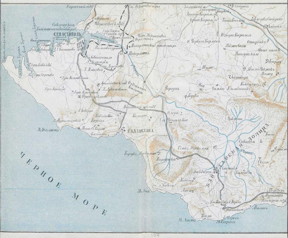 Карта окрестностей Севастополя и Балаклавы, 1904 г.