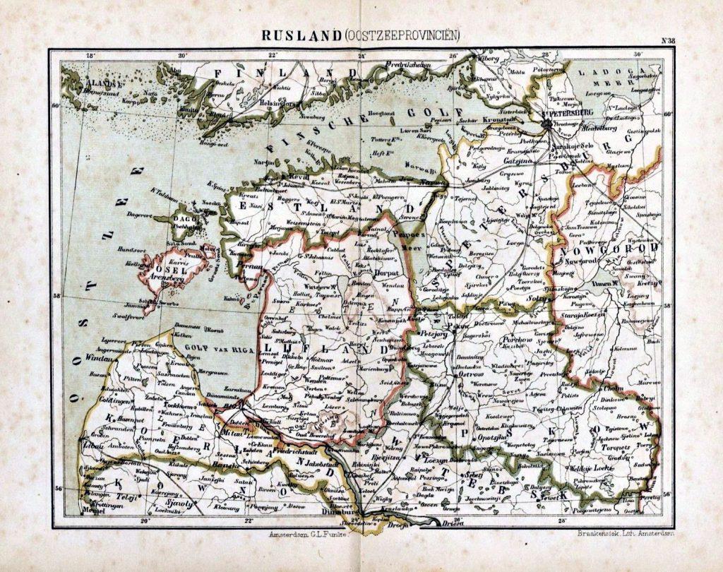 Карта Прибалтики, 1880 г.