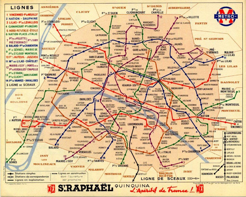 Карта Парижского метрополитена, 1939 г.