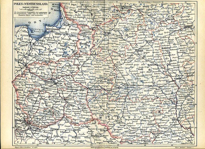 Карта Польши и Западной России, 1889 г.