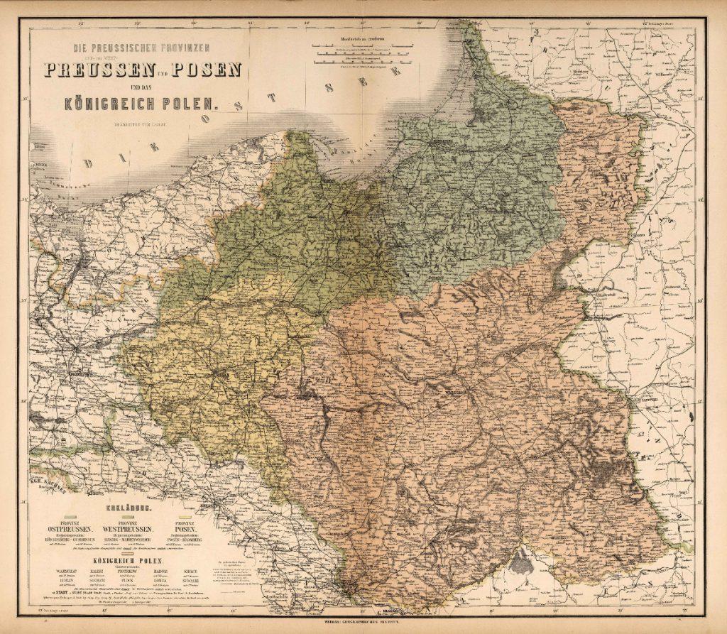 Карта Пруссии и Польши, 1886 г.
