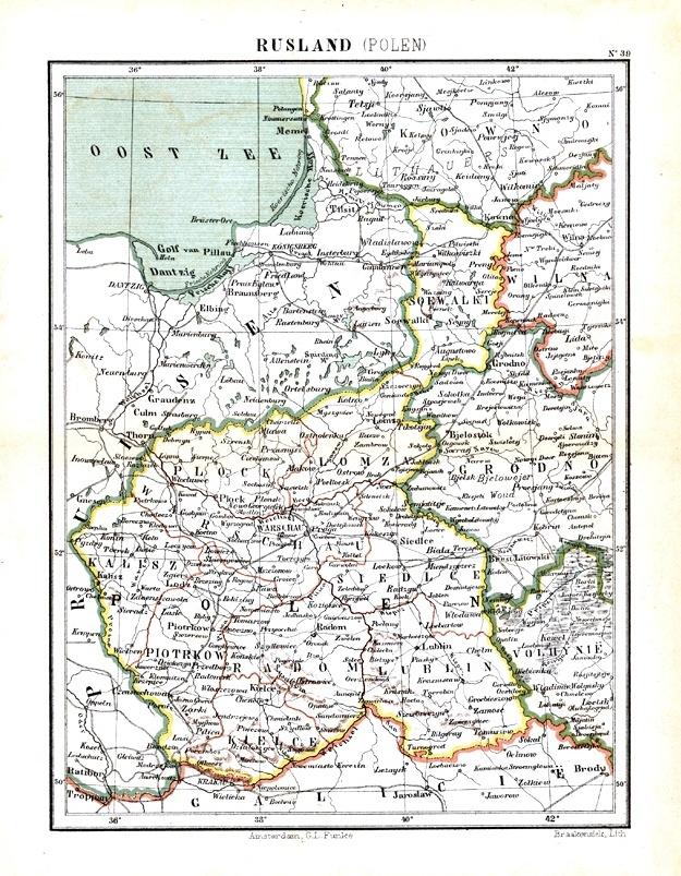 Карта Царства Польского, 1880 г.