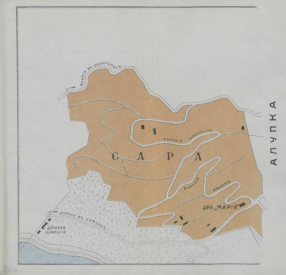 Карта окрестностей Алупки, 1904 г.