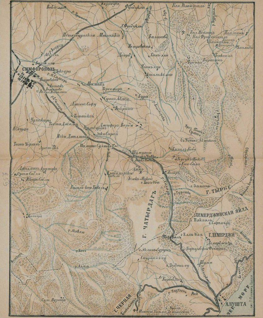 Карта окрестностей Симферополя, 1904 г.