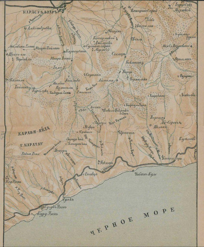 Карта побережья юго-восточной части Крыма, 1904 г.