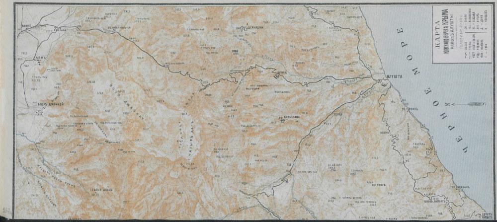 Карта Южного берега Крыма (район Алушты), 1904 г.