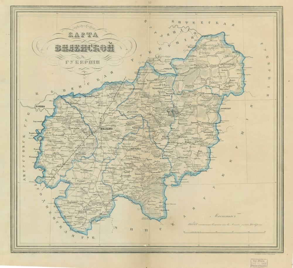 Карта Виленской губернии, 1876 г.