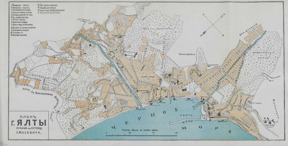 Карта Ялты и окрестностей, 1904 г.