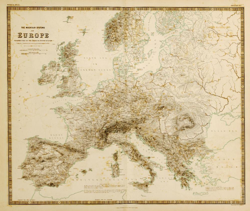 Карта горных систем Европы, 1848 г.