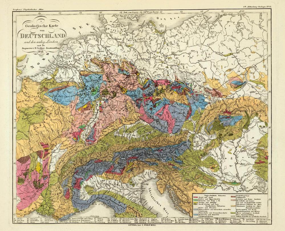 Геологическая карта Центральной Европы, 1848 г.