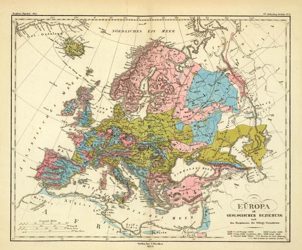 Геологическая карта Европы, 1848 г.