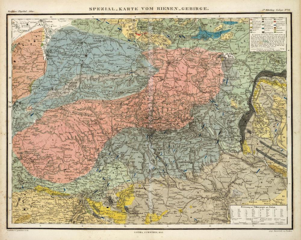 Геологическая карта Кркноше, 1848 г.