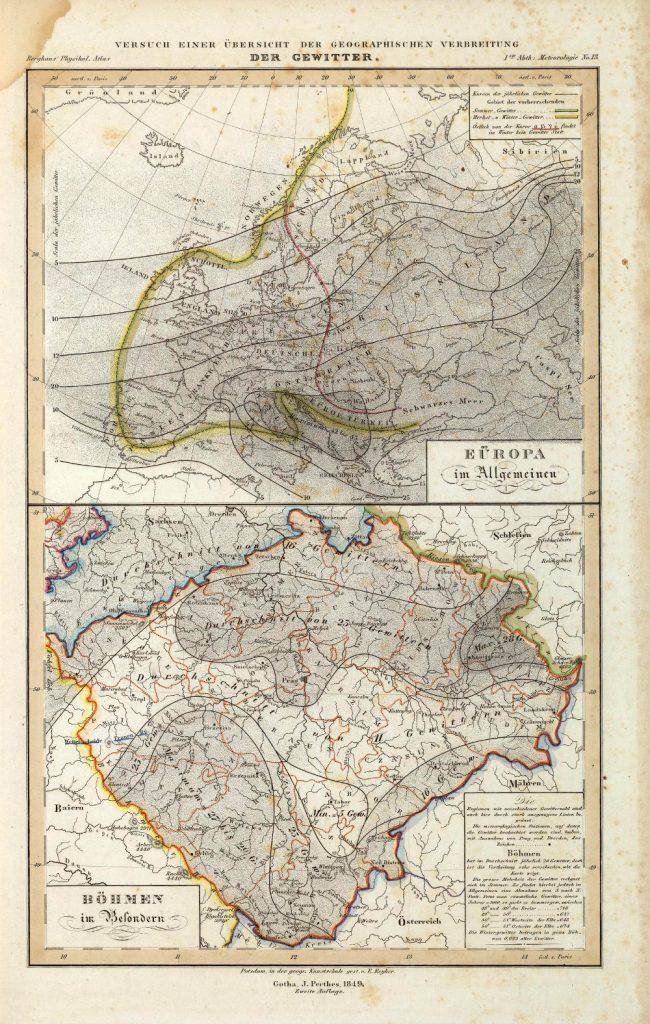 Карта ветров Европы, 1848 г.