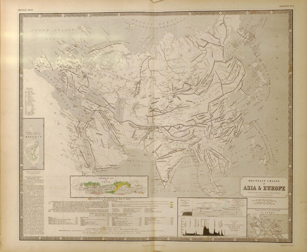 Карта горных систем Евразии, 1848 г.