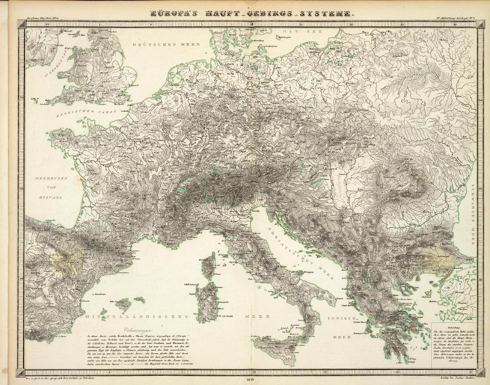 Карта горных хребтов Европы, 1848 г.