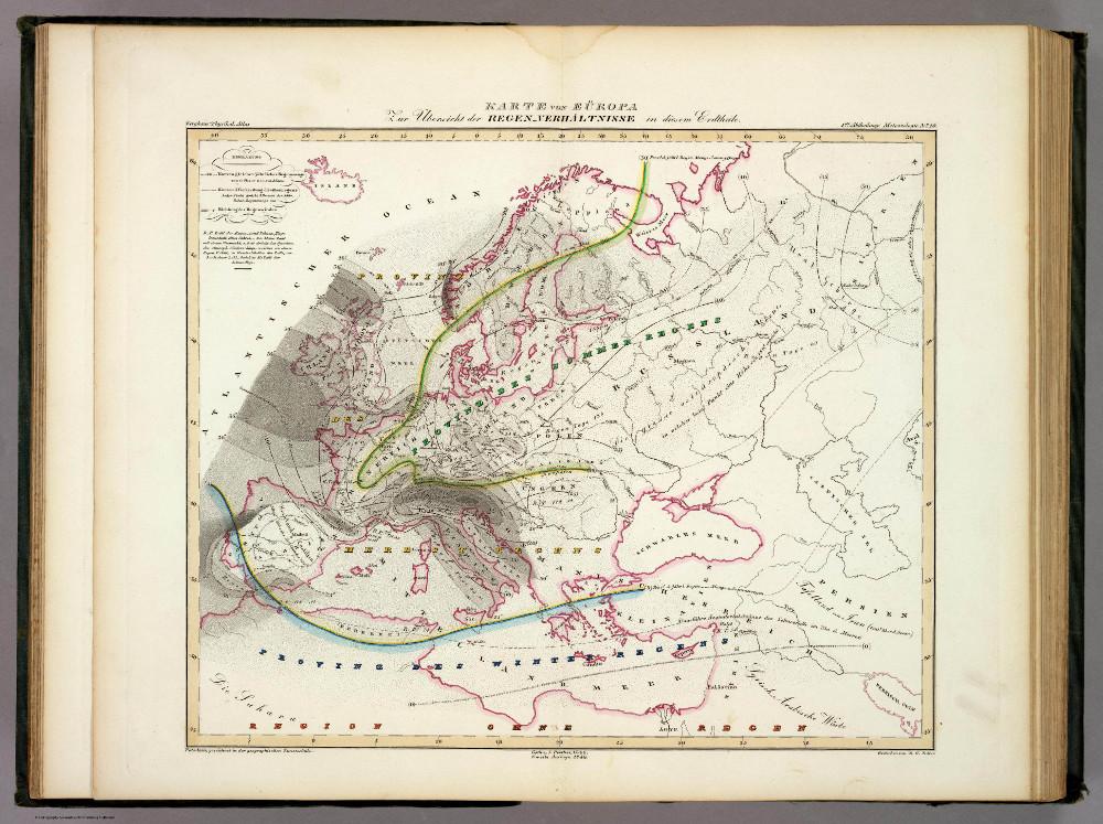 Карта осадков Европы, 1849 г.