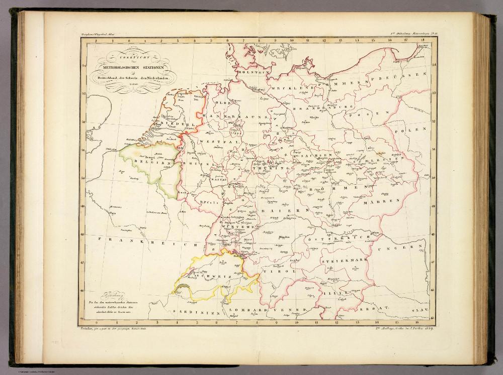 Карта погодных станций Германии, Швейцарии и Нидерландов, 1848 г.