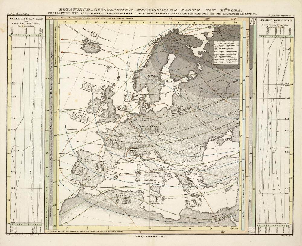 Ботанико-географическая и статистическая карта Европы, 1848 г.
