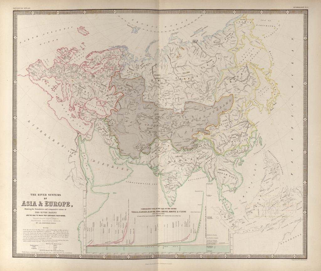 Карта речных систем Евразии, 1848 г.