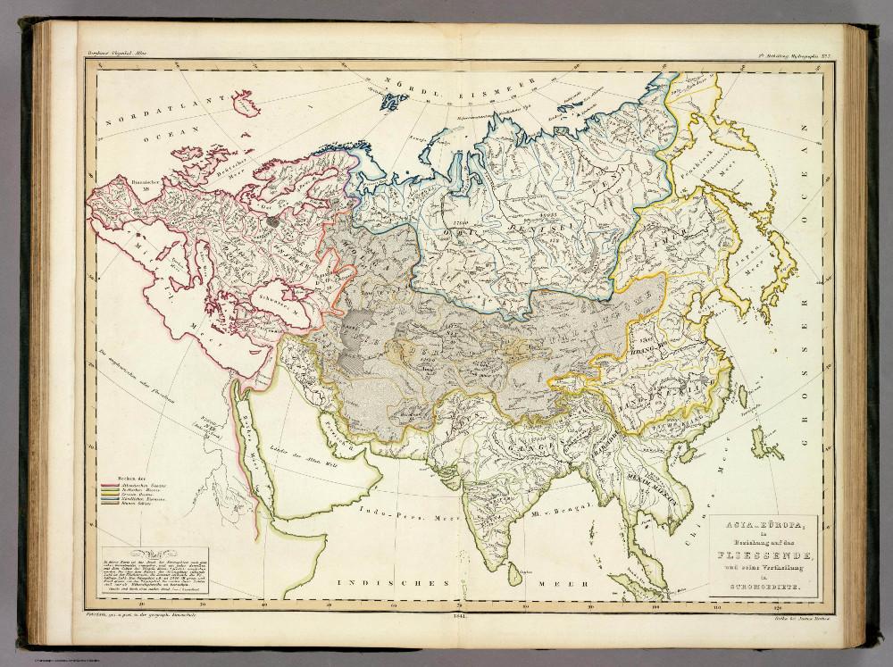 Карта рек и речных бассейнов Евразии, 1848 г.