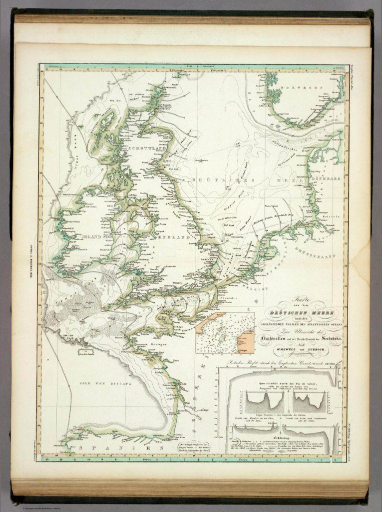 Карта приливных течений и морского дна Северного моря, 1848 г.