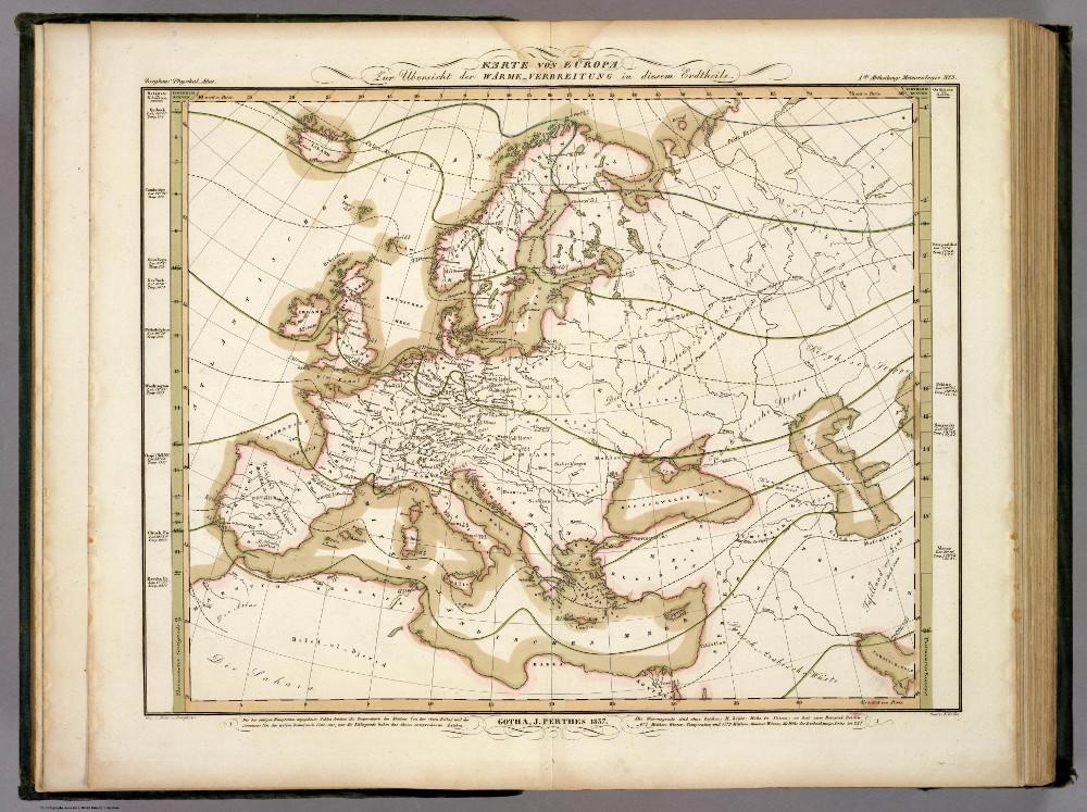Распределение температуры в Европе, 1837 г.