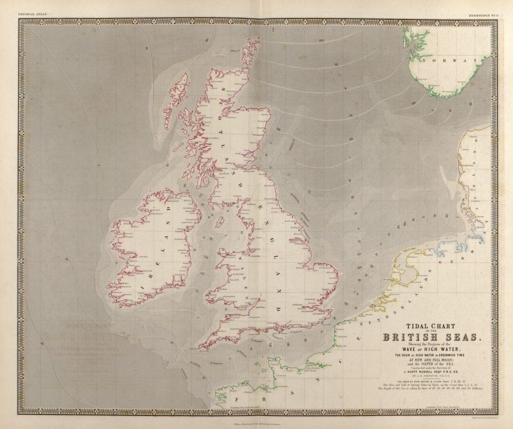 Приливная карта Британских морей, 1848 г.