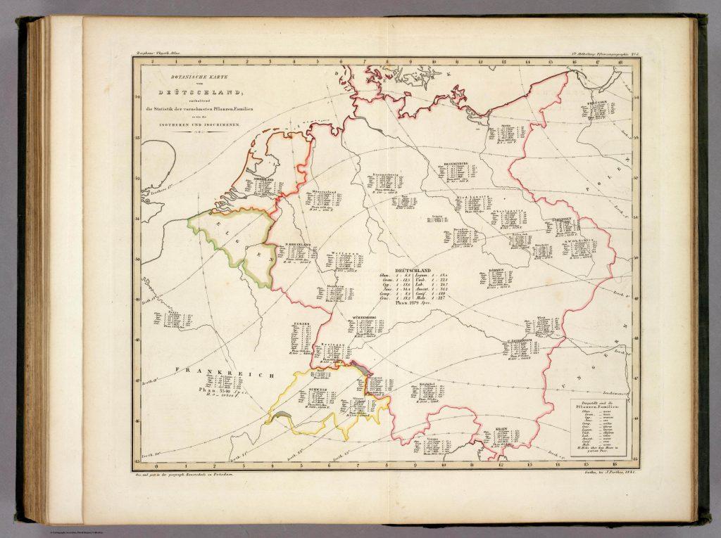 Ботаническая карта Германии, содержащая статистику самых значимых семейств растений, а также изотерм и изохимен, 1841 г.