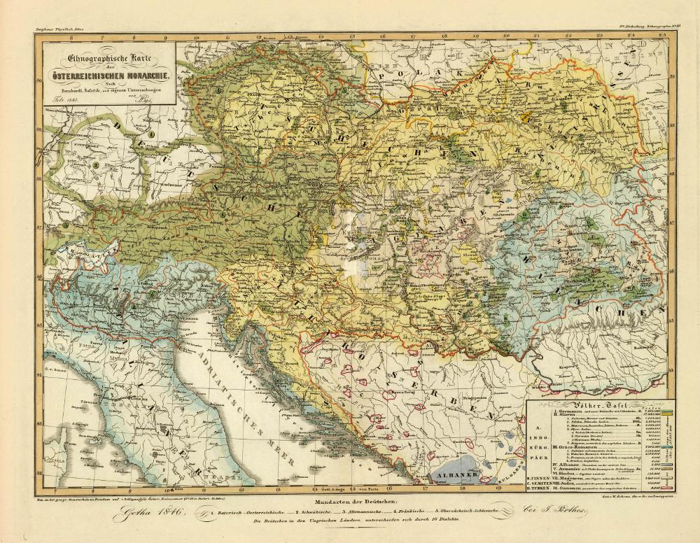 Этнографическая карта Австро-Венгрии, 1847 г.
