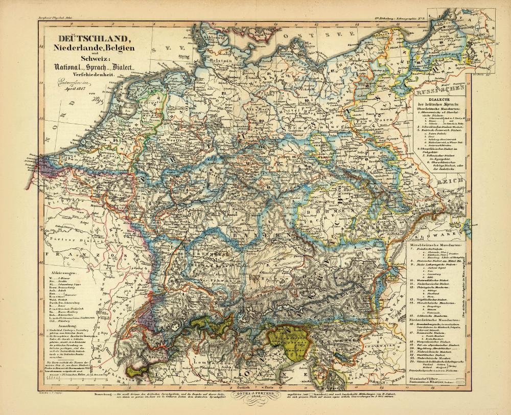 Этнографическая карта Германии, Бельгии, Нидерландов и Швейцарии, 1847 г.
