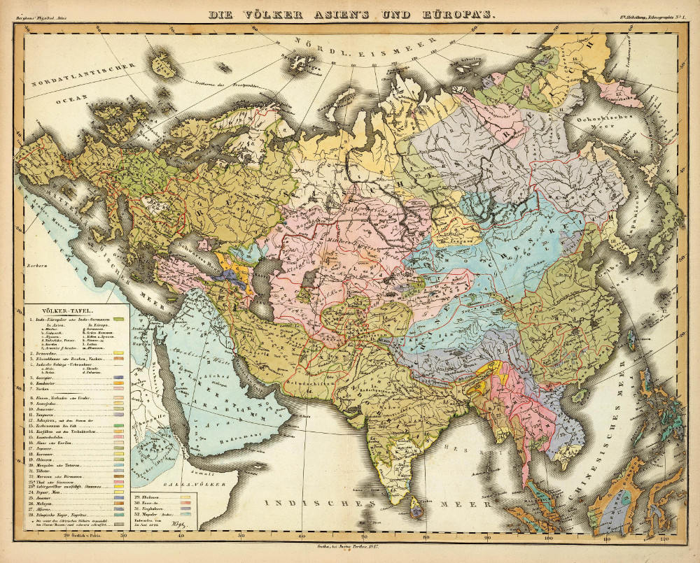Этнографическая карта Евразии, 1847 г.