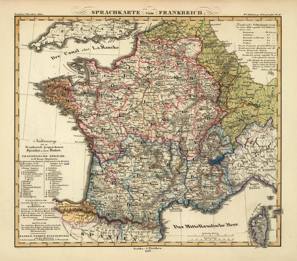Этнографическая карта Франции, 1848 г.