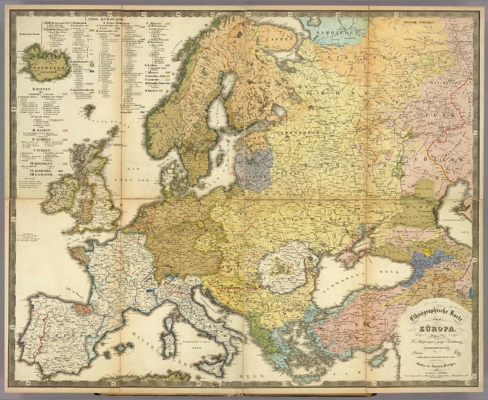 Этнографическая карта Европы, 1847 г.