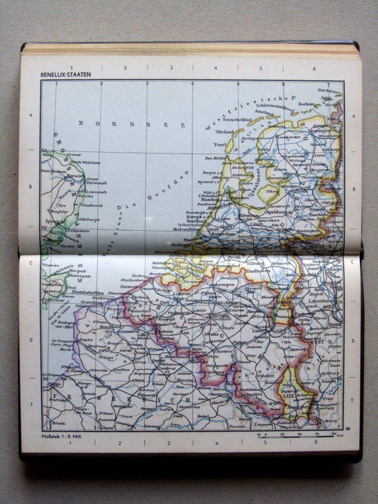 Карта Нидерландов, Бельгии и Люксембурга, 1967 г.