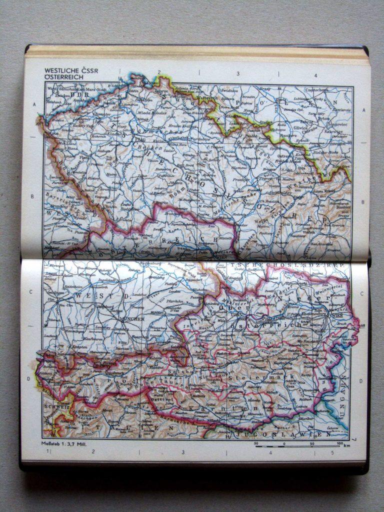 Карта Чехии и Австрии, 1967 г.
