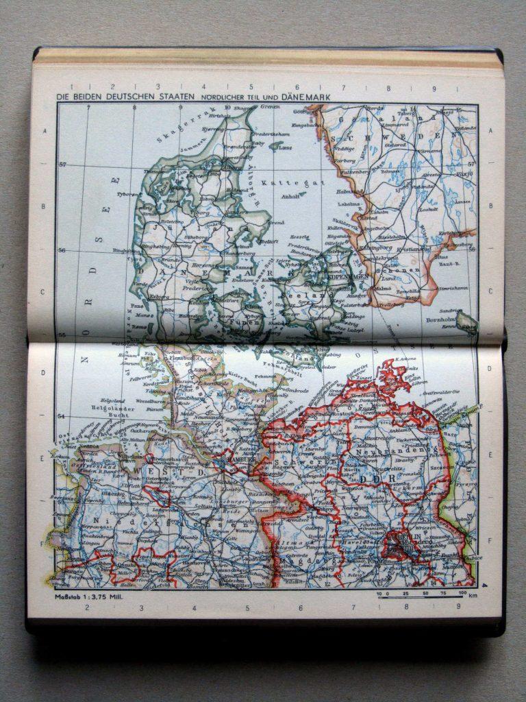 Карта Дании и Северной Германии, 1967 г.