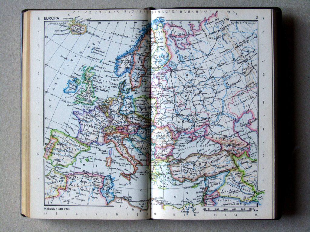 Карта Европы, 1967 г.