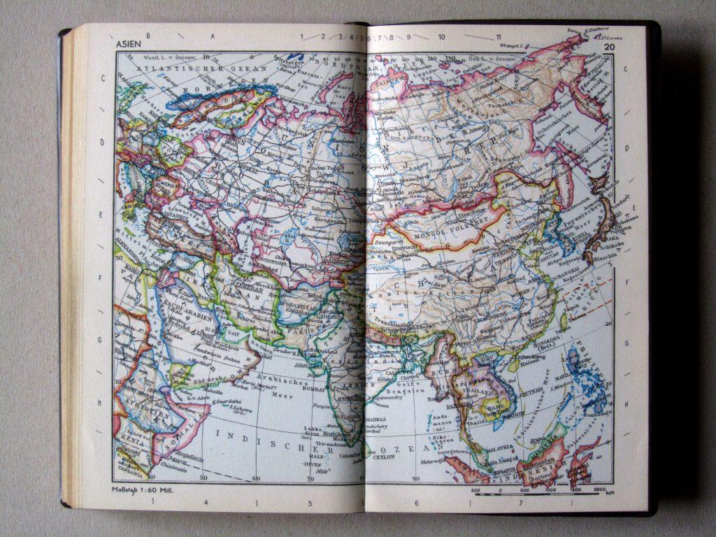 Карта Азии, 1967 г.