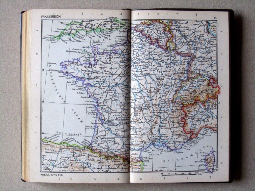 Карта Франции, 1967 г.