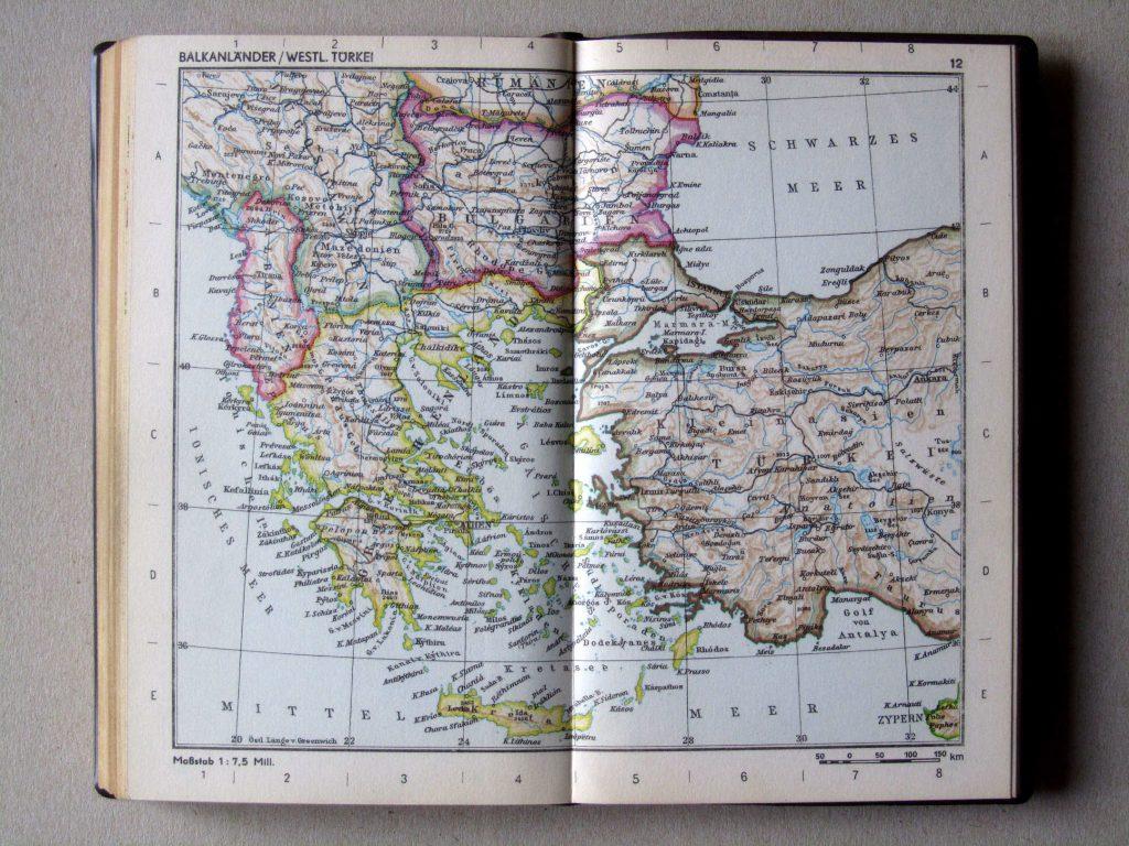Карта Греции, Албании, Болгарии, 1967 г.