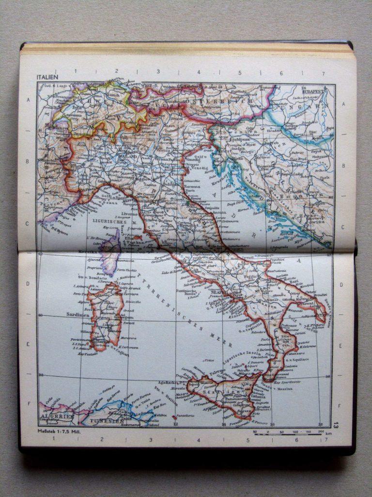 Карта Италии, 1967 г.