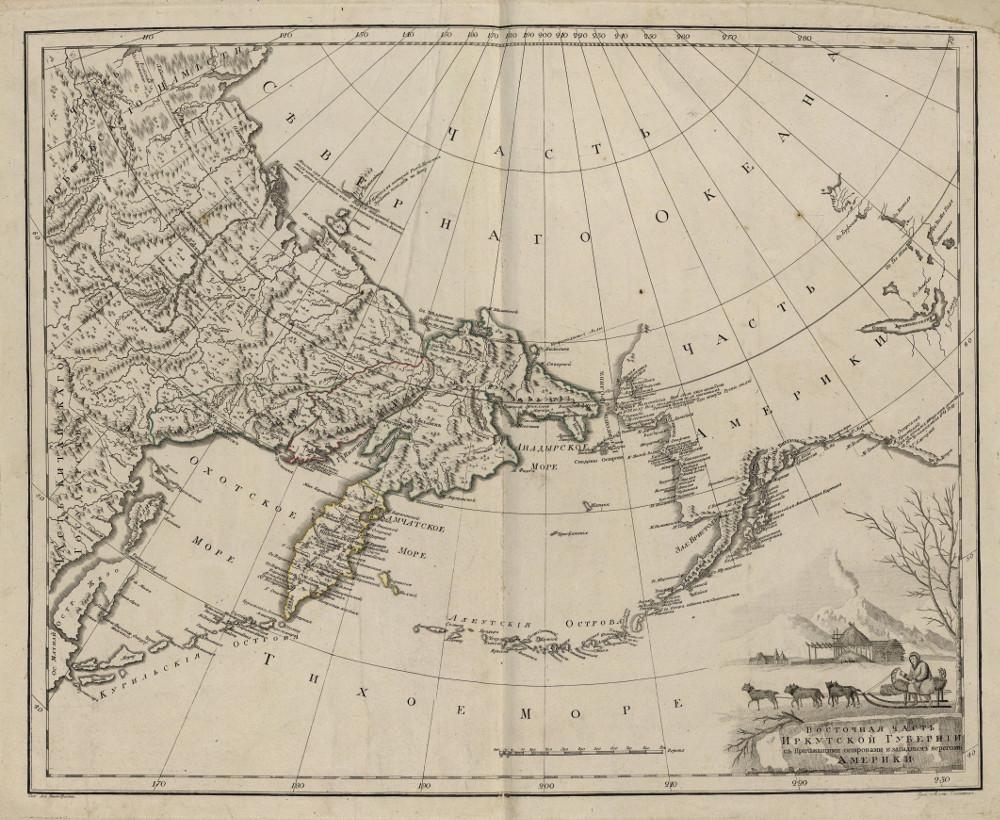 Карта Охотского моря, Дальнего Востока и Аляски, 1800 г.