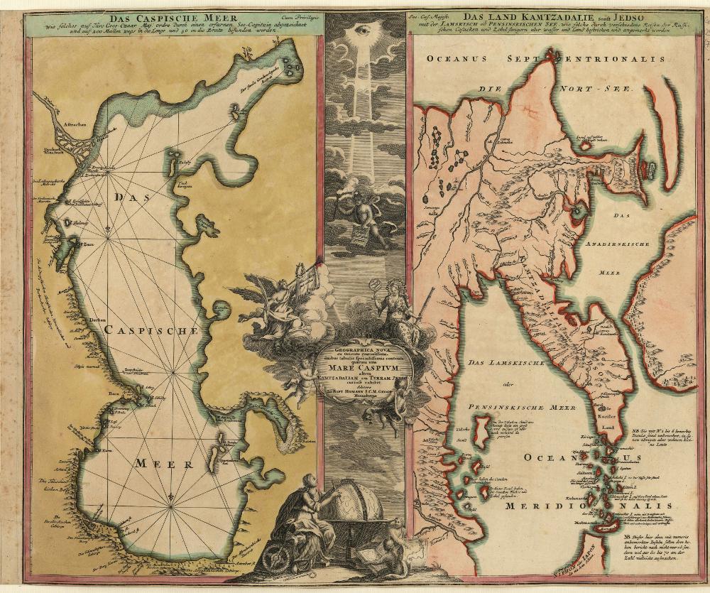 Карта Камчатки и Каспийского моря 1724 года