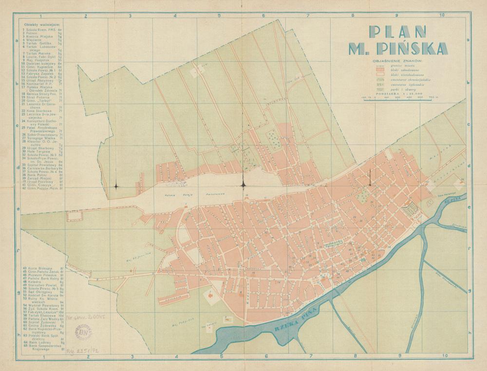 Карта Пинска, 1939 г.