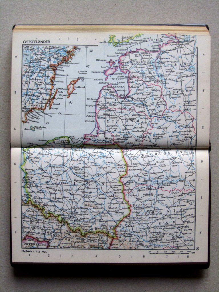 Карта Польши и Прибалтики, 1967 г.
