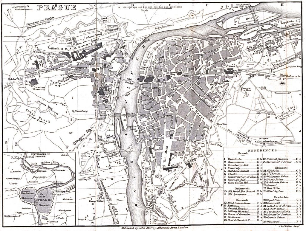 Карта Праги, 1858 г.